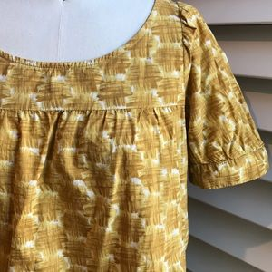 Anthropologie mustard printed blouse S